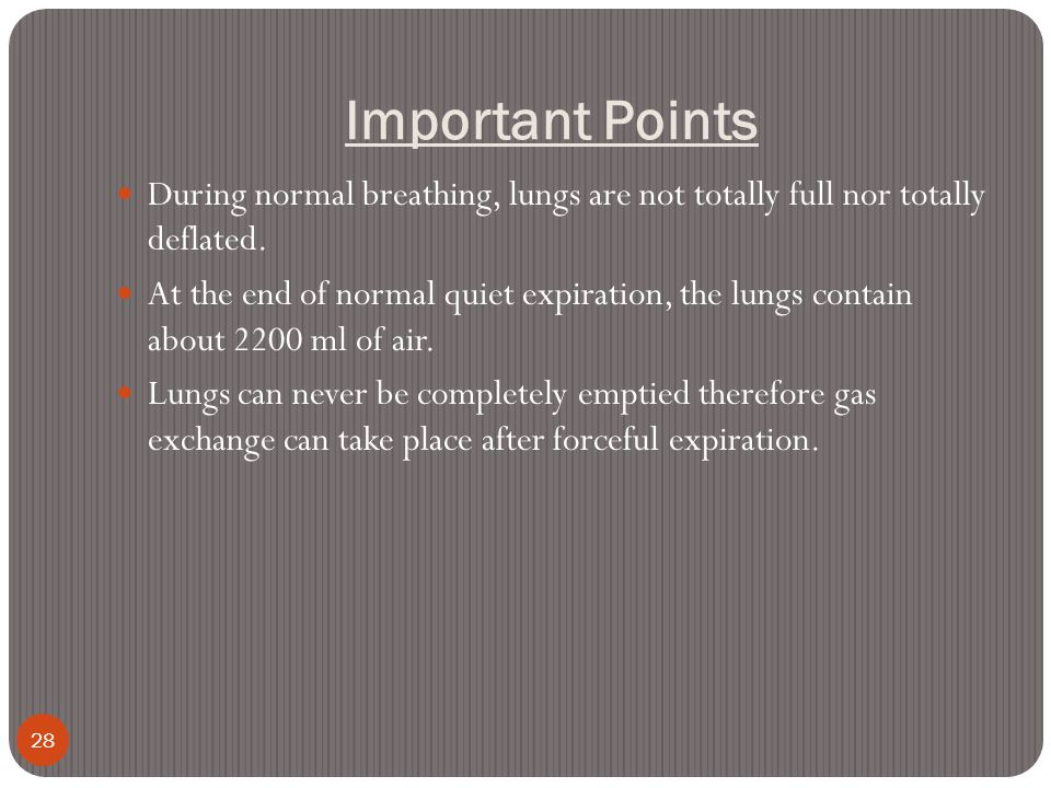 Important Points During normal breathing, lungs are not totally full nor totally deflated.