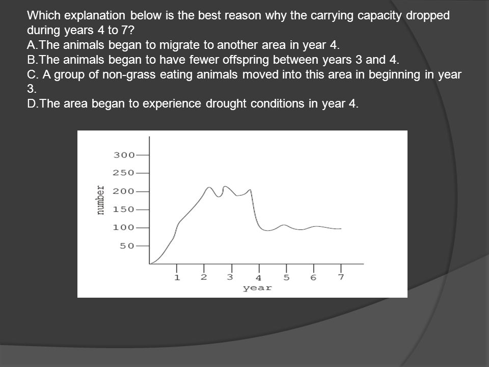 Which explanation below is the best reason why the carrying capacity dropped during years 4 to 7.