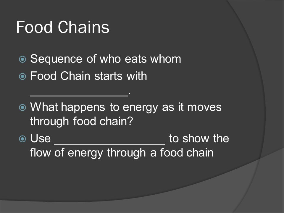 Food Chains Sequence of who eats whom