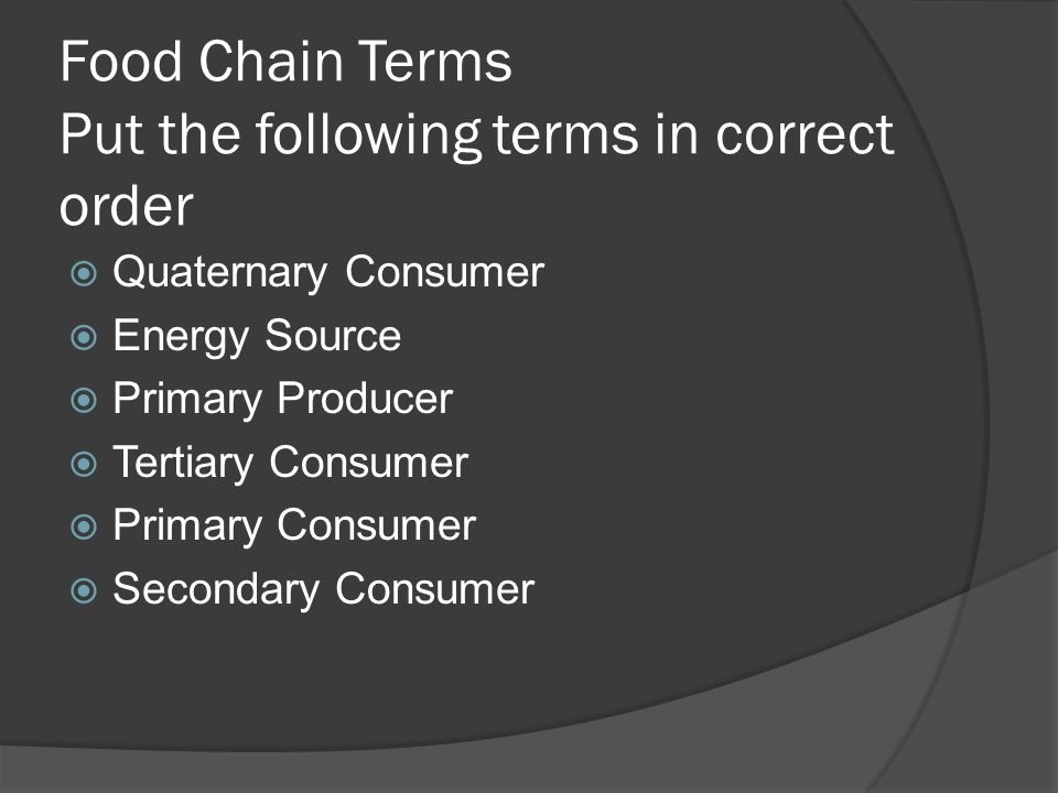 Food Chain Terms Put the following terms in correct order