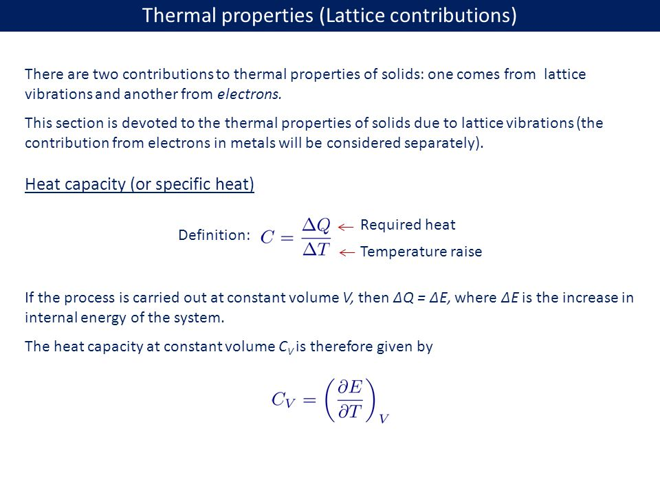 Thermal properties (Lattice contributions)