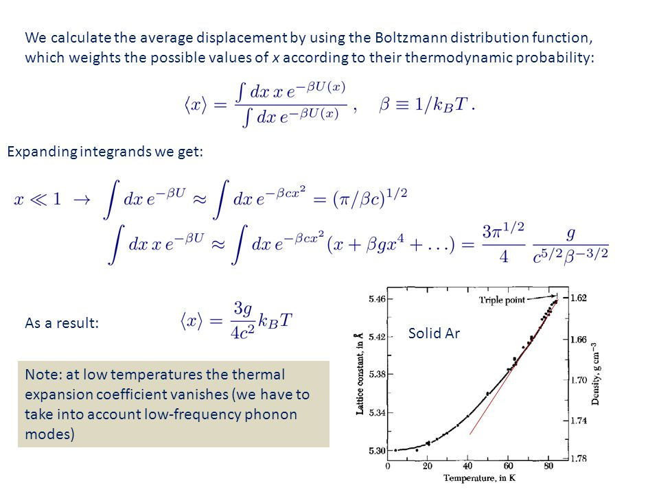 We calculate the average displacement by using the Boltzmann distribution function, which weights the possible values of x according to their thermodynamic probability: