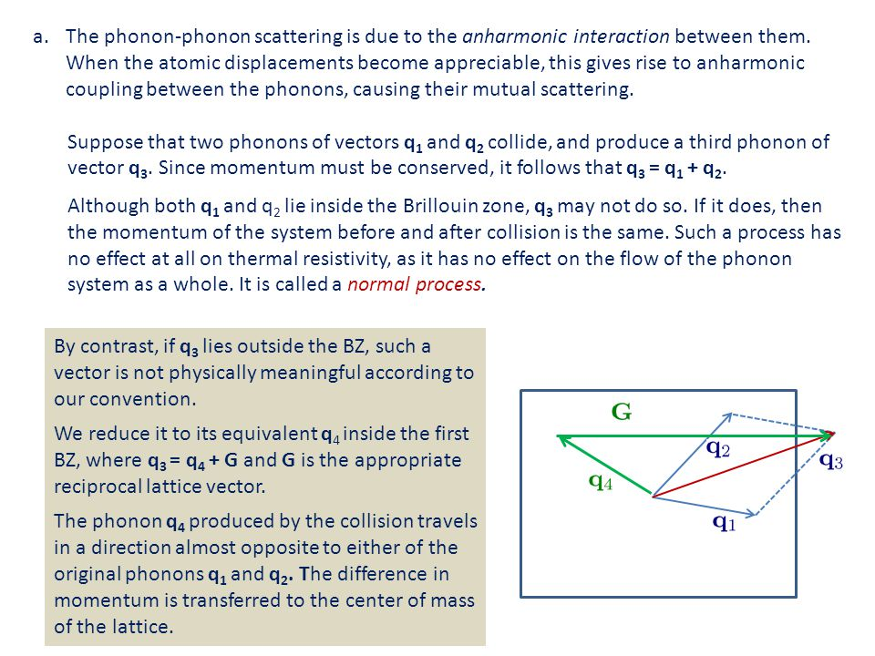 The phonon-phonon scattering is due to the anharmonic interaction between them. When the atomic displacements become appreciable, this gives rise to anharmonic coupling between the phonons, causing their mutual scattering.
