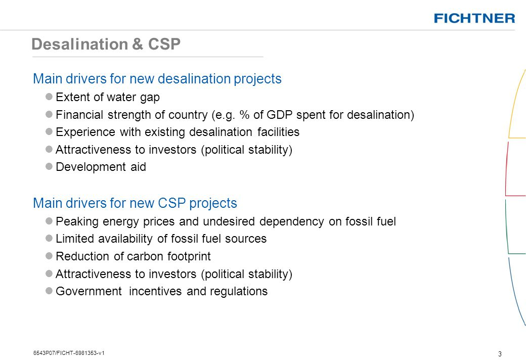 Desalination & CSP Main drivers for new desalination projects