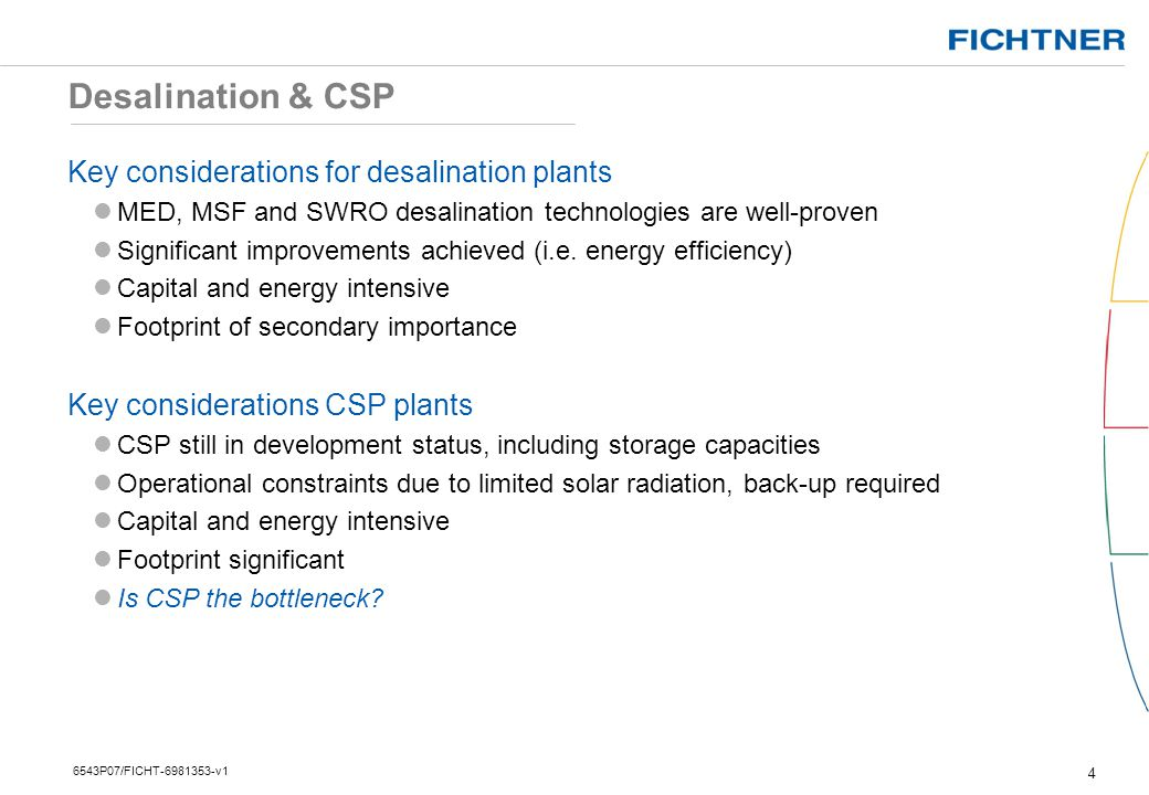 Desalination & CSP Key considerations for desalination plants