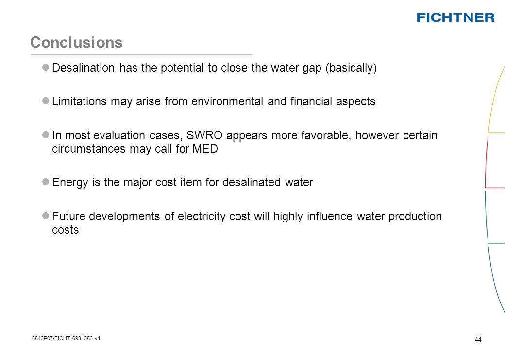 Conclusions Desalination has the potential to close the water gap (basically) Limitations may arise from environmental and financial aspects.