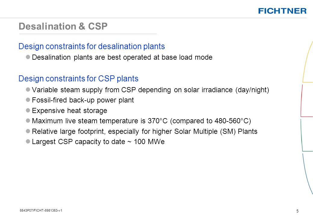 Desalination & CSP Design constraints for desalination plants