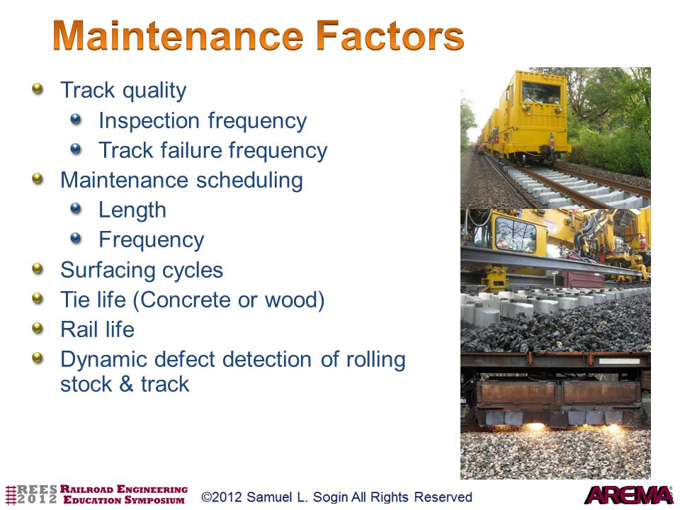 Maintenance Factors Track quality Inspection frequency