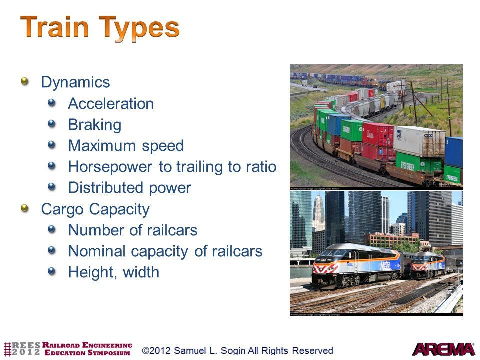 Train Types Dynamics Acceleration Braking Maximum speed