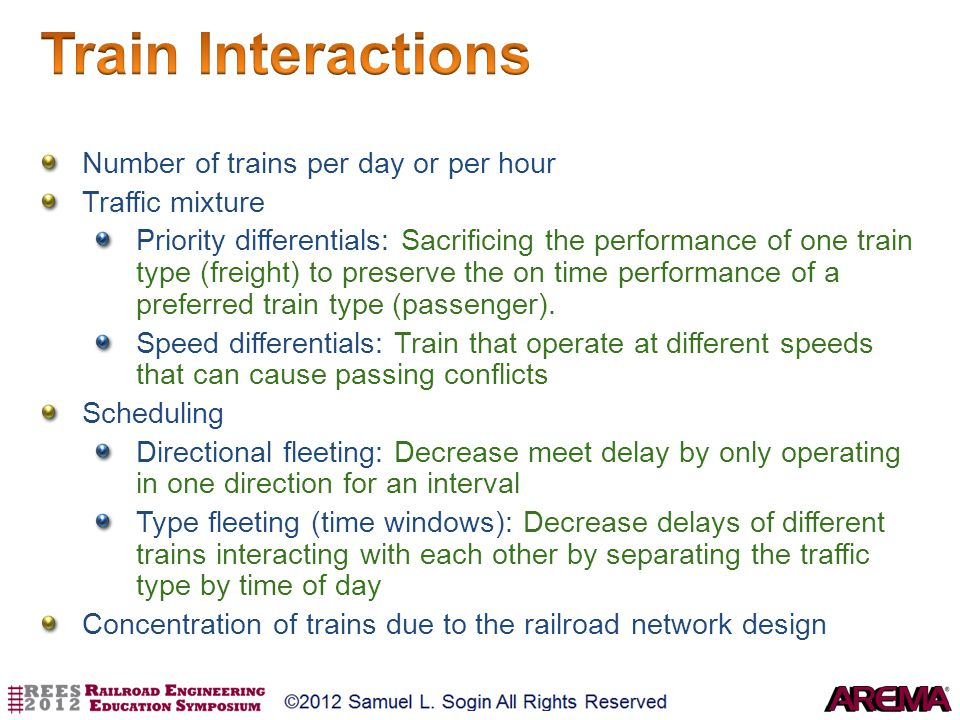 Train Interactions Number of trains per day or per hour