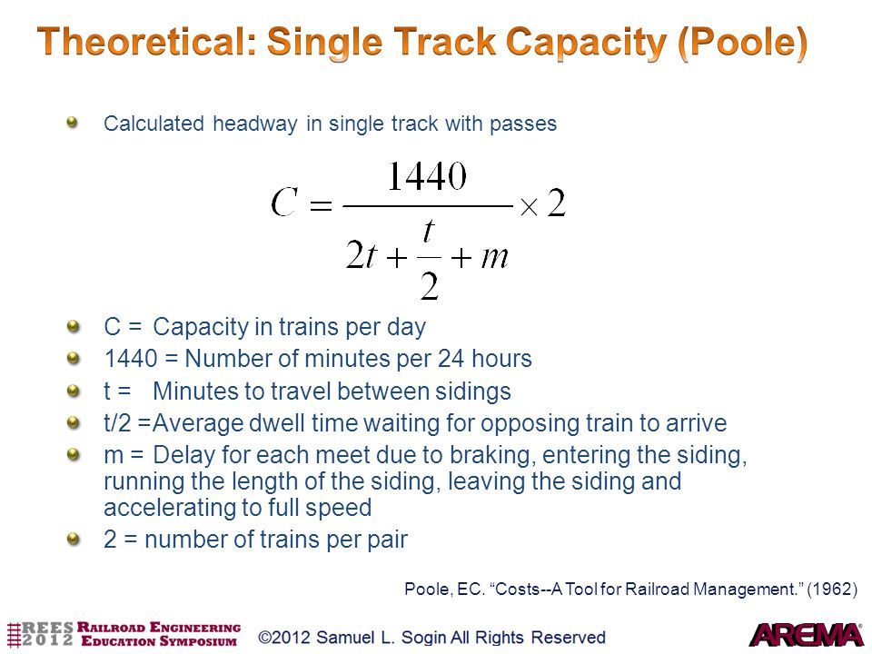 Theoretical: Single Track Capacity (Poole)