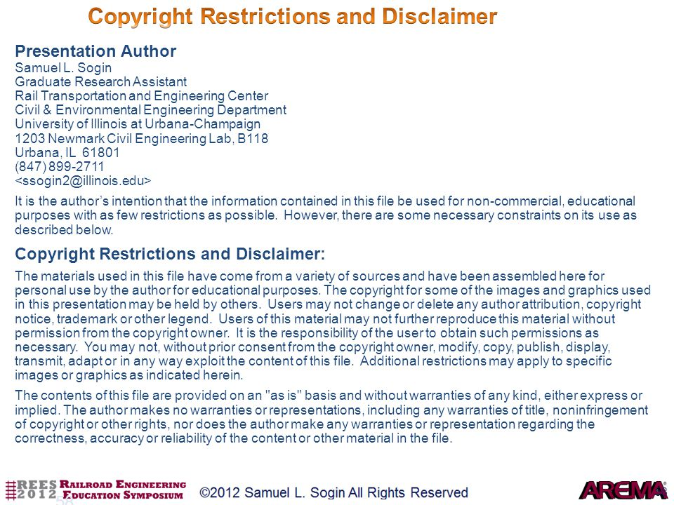 Copyright Restrictions and Disclaimer