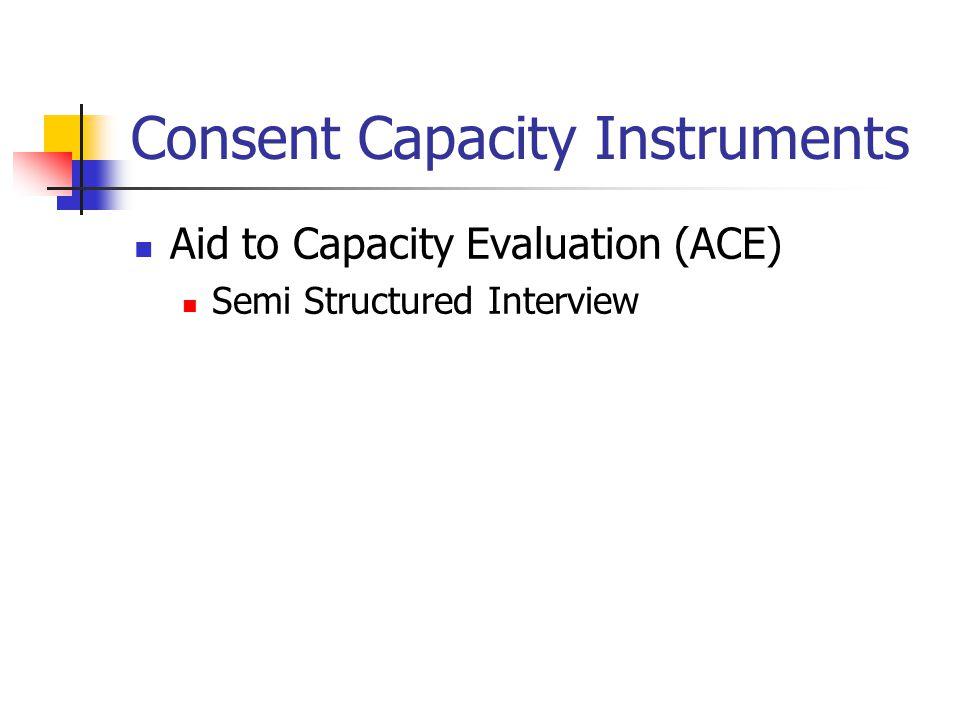 Consent Capacity Instruments