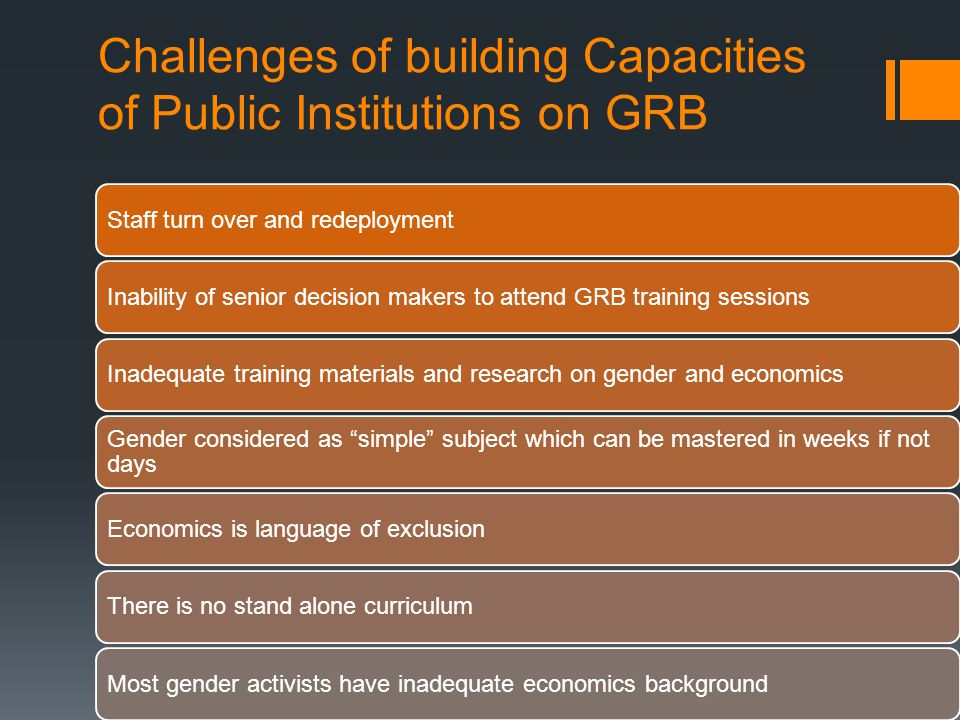 Challenges of building Capacities of Public Institutions on GRB