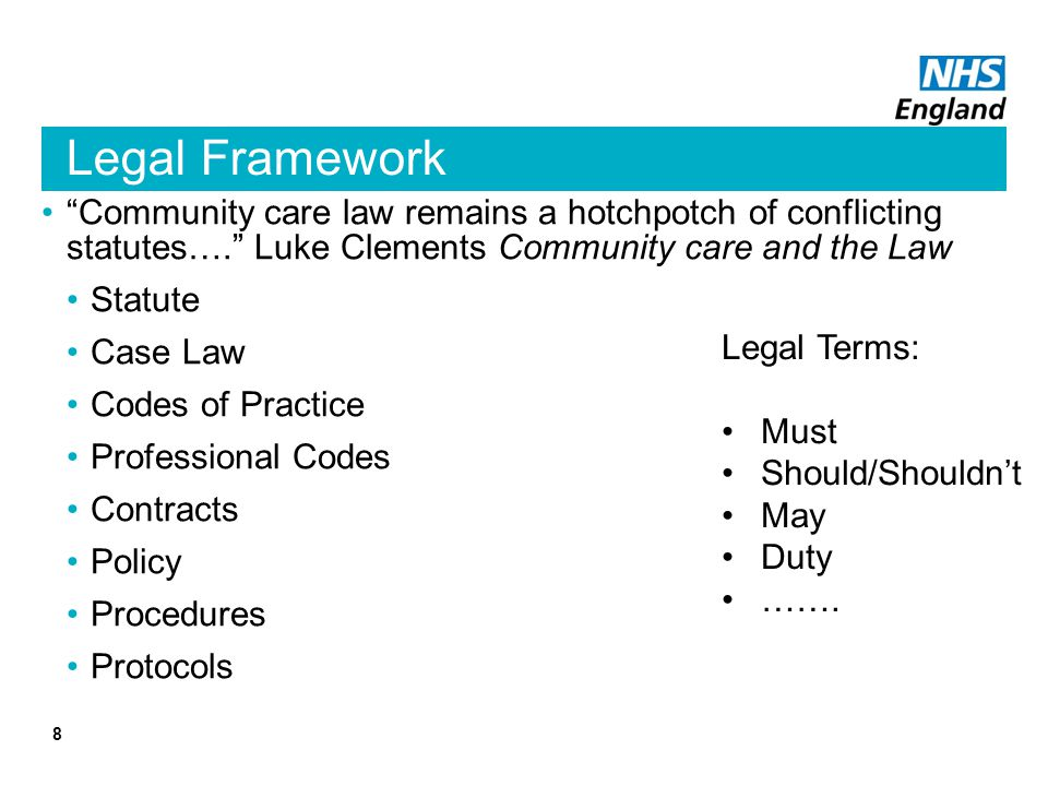 Legal Framework Community care law remains a hotchpotch of conflicting statutes…. Luke Clements Community care and the Law.