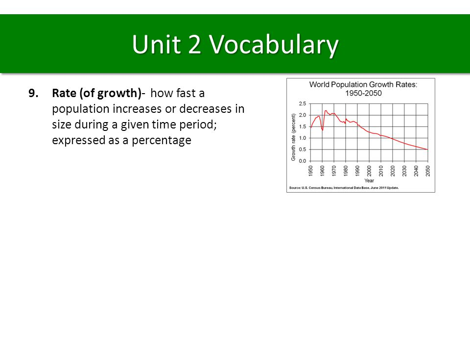 Unit 2 Vocabulary Rate (of growth)- how fast a population increases or decreases in size during a given time period; expressed as a percentage.