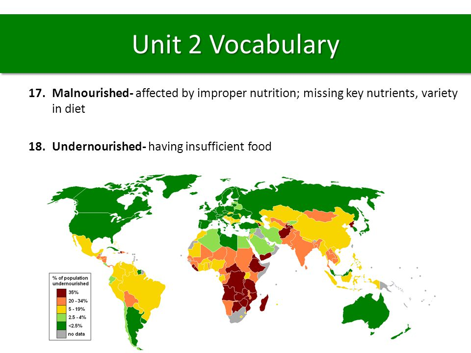 Unit 2 Vocabulary Malnourished- affected by improper nutrition; missing key nutrients, variety in diet.