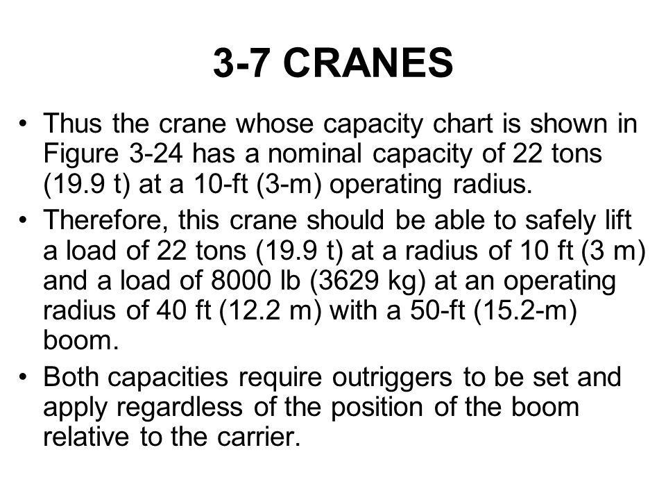 3-7 CRANES Thus the crane whose capacity chart is shown in Figure 3-24 has a nominal capacity of 22 tons (19.9 t) at a 10-ft (3-m) operating radius.