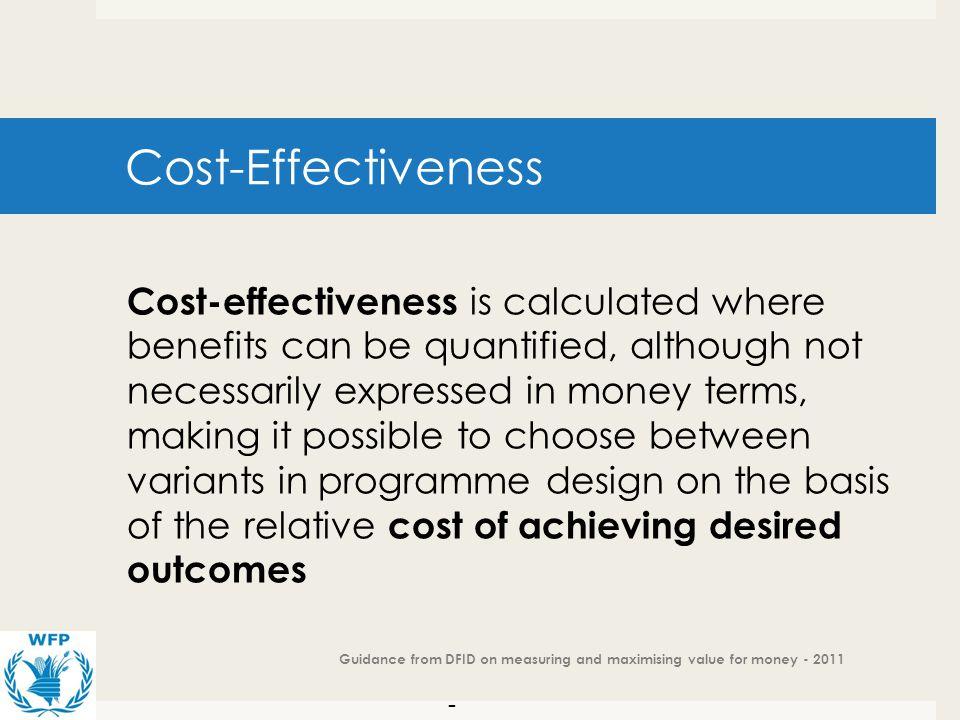 Cost-Effectiveness Cost effectiveness