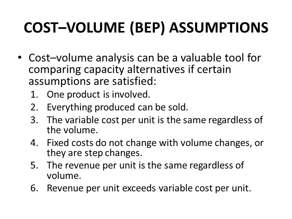 COST–VOLUME (BEP) ASSUMPTIONS