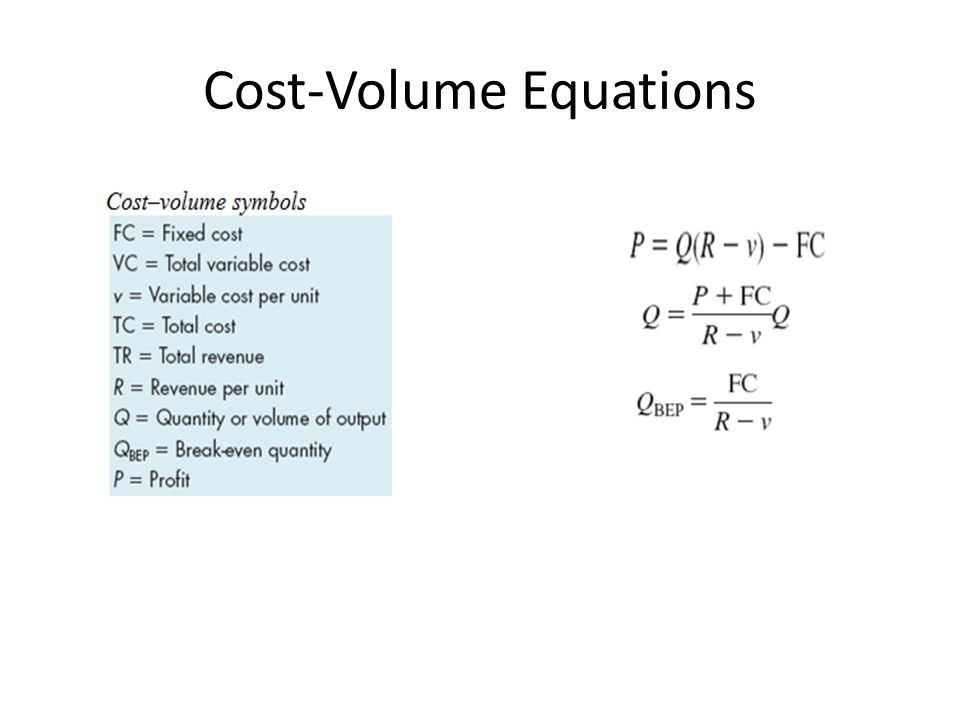 Cost-Volume Equations