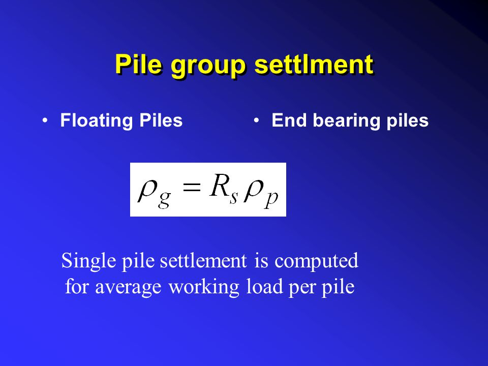 Single pile settlement is computed for average working load per pile