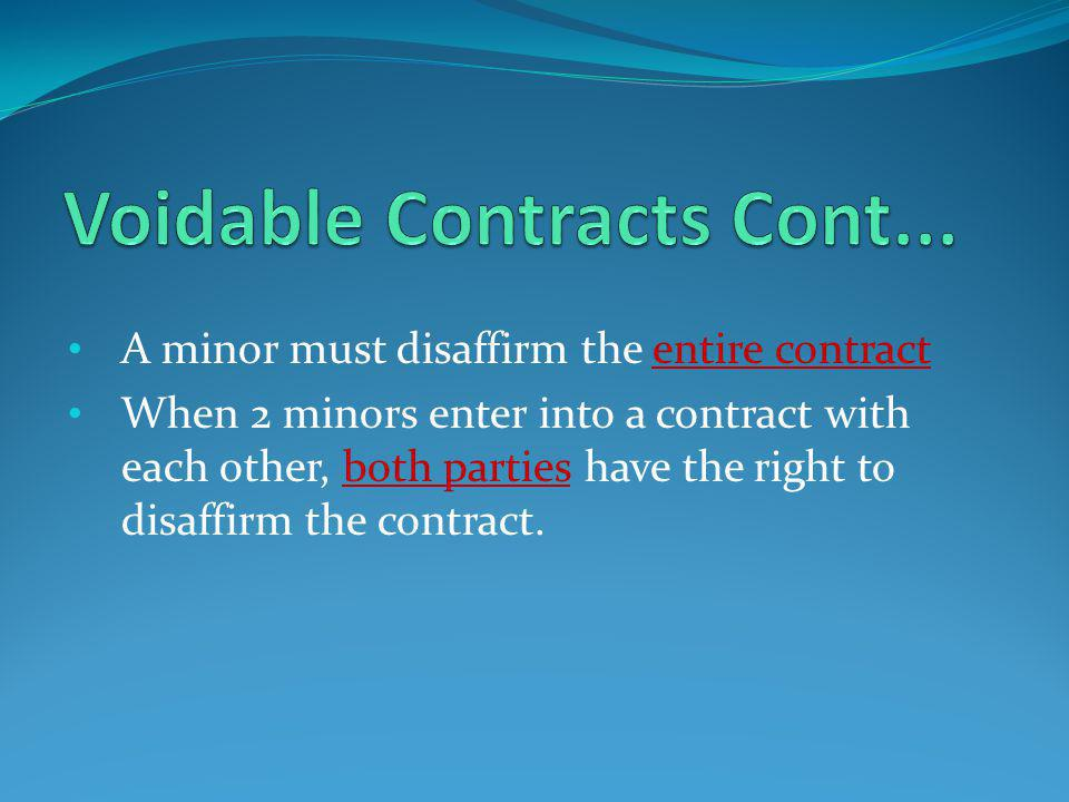 Voidable Contracts Cont...