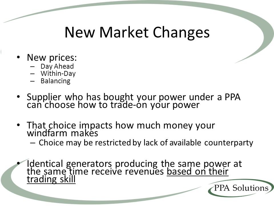 New Market Changes New prices: