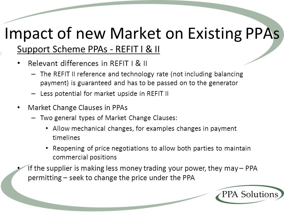 Impact of new Market on Existing PPAs