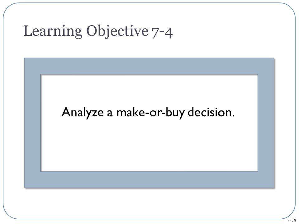Analyze a make-or-buy decision.