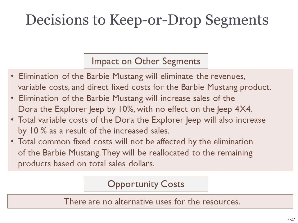Decisions to Keep-or-Drop Segments