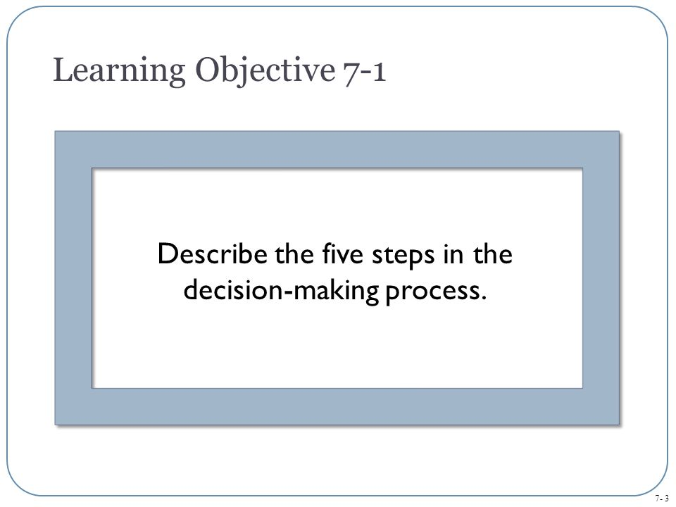Describe the five steps in the decision-making process.