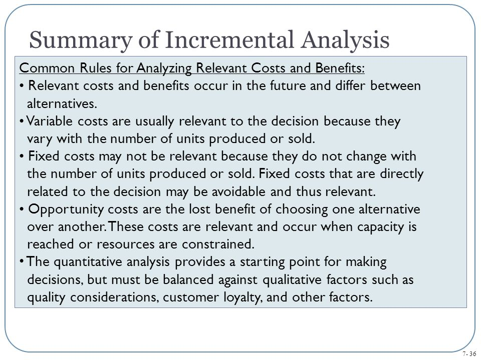 Summary of Incremental Analysis