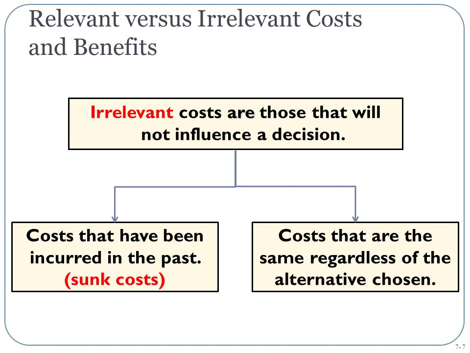 Relevant versus Irrelevant Costs and Benefits