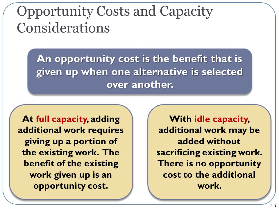 Opportunity Costs and Capacity Considerations
