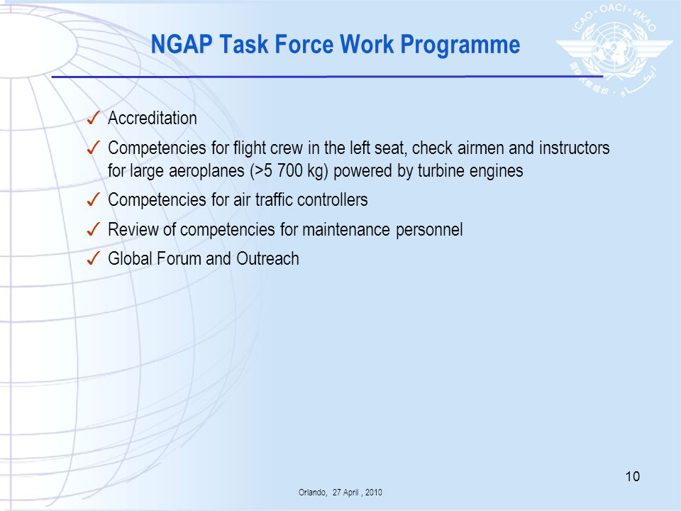 NGAP Task Force Work Programme