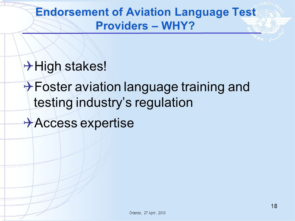 Endorsement of Aviation Language Test Providers – WHY