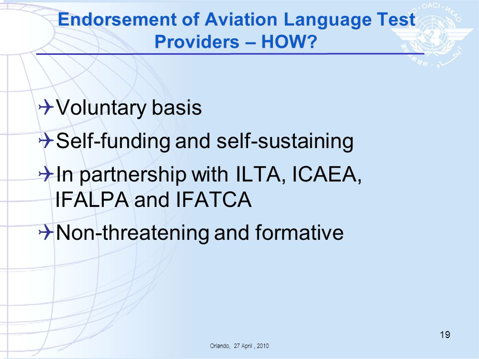 Endorsement of Aviation Language Test Providers – HOW