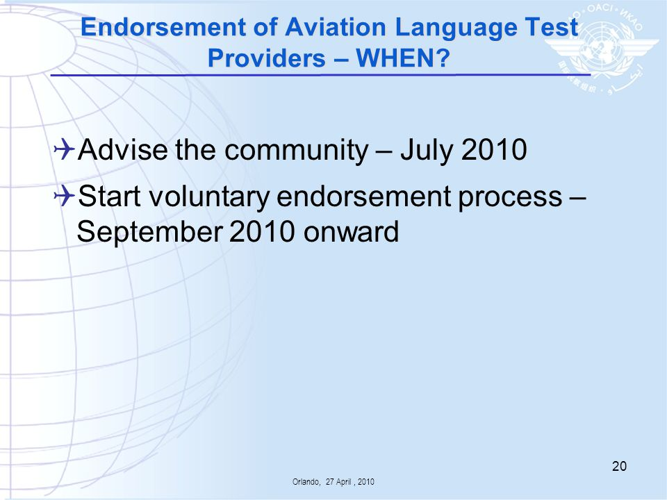 Endorsement of Aviation Language Test Providers – WHEN