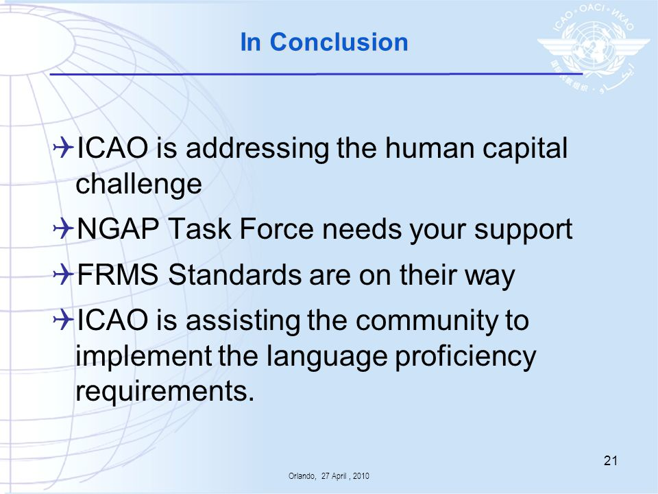 ICAO is addressing the human capital challenge