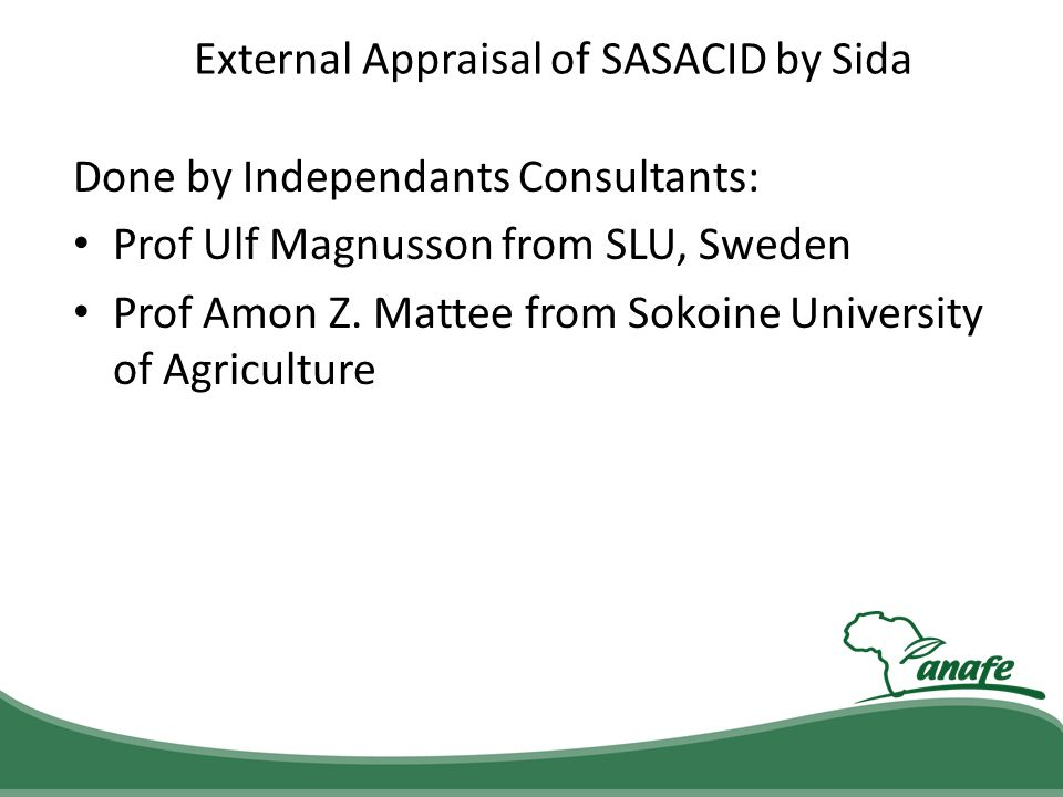External Appraisal of SASACID by Sida