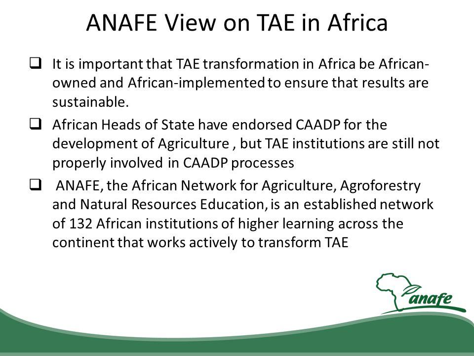 ANAFE View on TAE in Africa