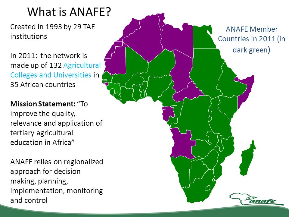 ANAFE Member Countries in 2011 (in dark green)