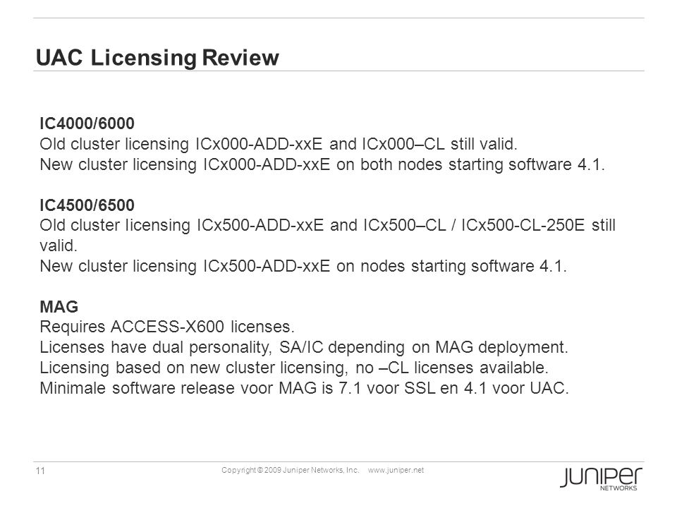 UAC Licensing Review IC4000/6000