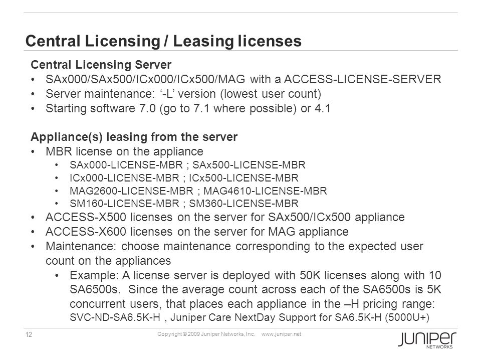 Central Licensing / Leasing licenses