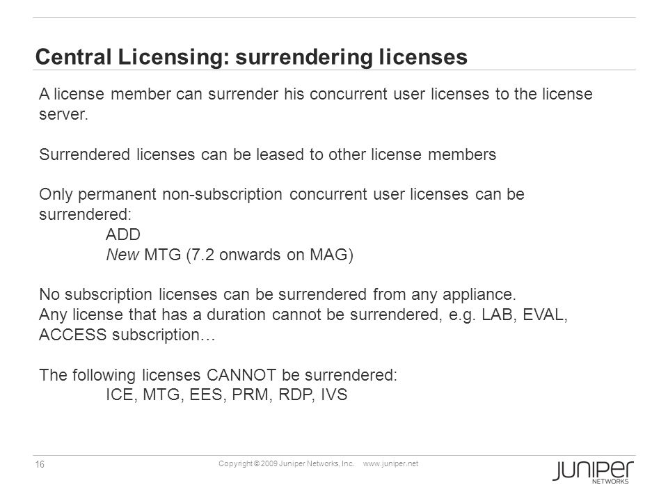 Central Licensing: surrendering licenses