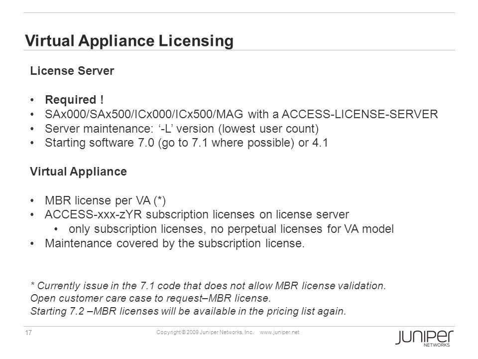 Virtual Appliance Licensing