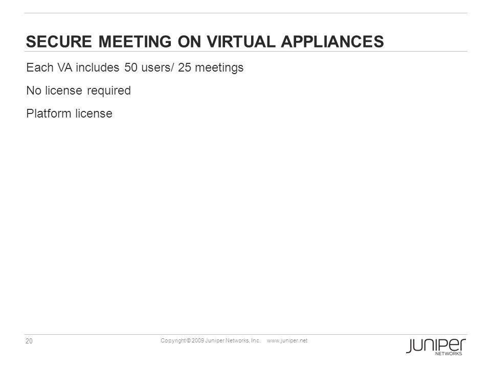 SECURE MEETING ON VIRTUAL APPLIANCES