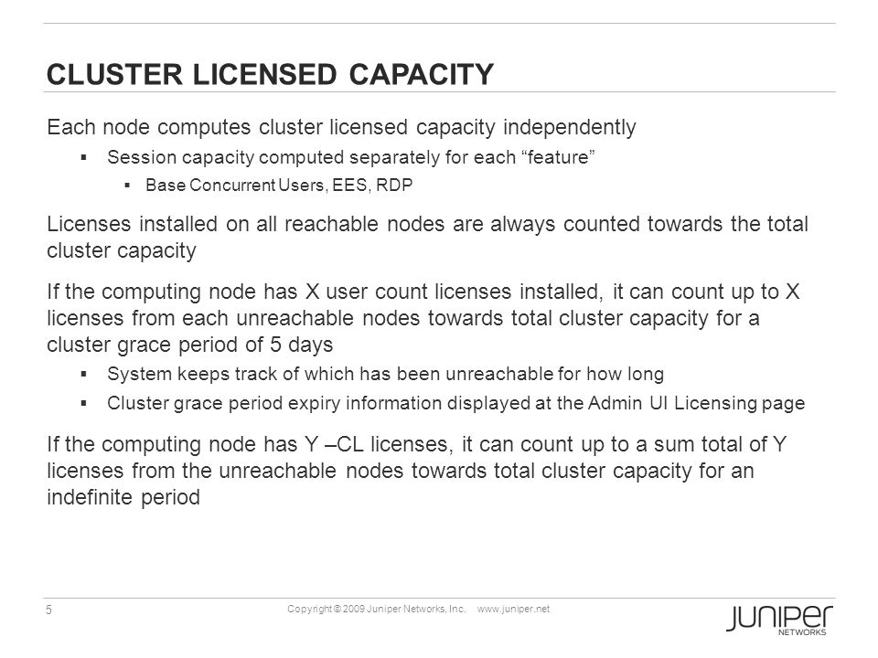 CLUSTER LICENSED CAPACITY