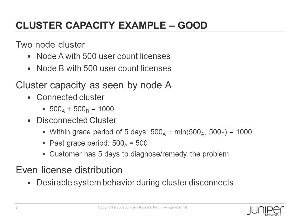 CLUSTER CAPACITY EXAMPLE – GOOD